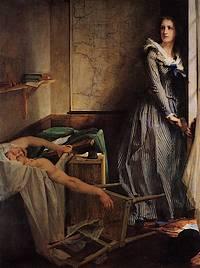 De moord op Jean-Paul Marat - Schilderij van Paul-Jacques-Aimé Baudry (1860)