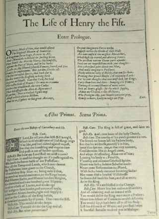 William Shakespeare: 'The Life of Henry the Fift' uit de First Folio