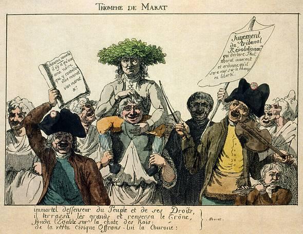 Anonieme gravure uit 1793 gemaakt nadat Marat door het Revolutionair Tribunaal is vrijgesproken