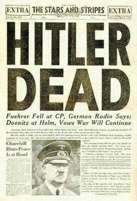 Krantenbericht over de dood van Adolf Hitler