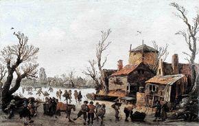 Dorp in de winter van Jan van Goyen