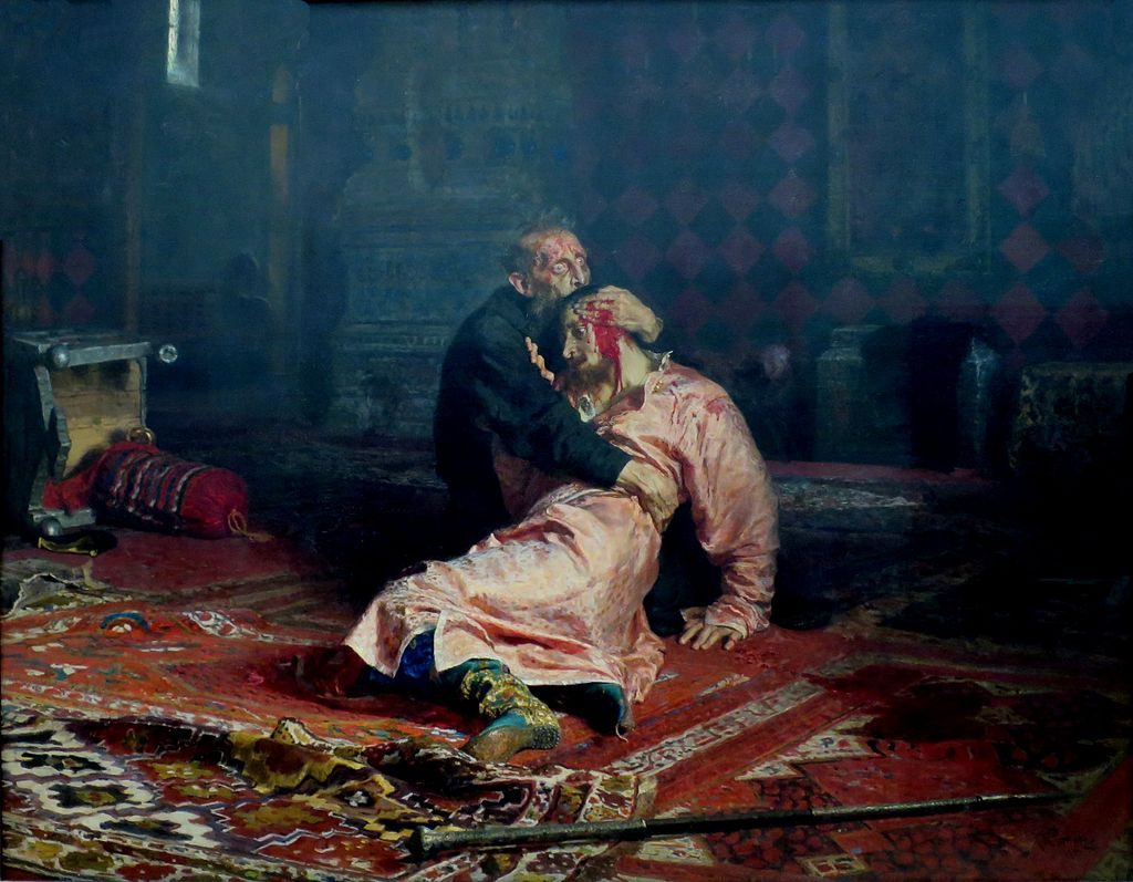Ivan de Verschrikkelijke en zijn dode zoon. Schilderij door Ilja Repin.
