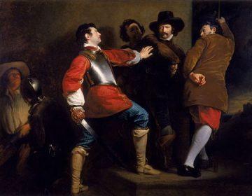 Fawkes wordt overmeesterd in de kelder van het Hogerhuis – Henry Peronett Briggs, ca. 1823