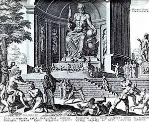 Phidias' beeld van Zeus te zien op een zestiende-eeuwse gravure