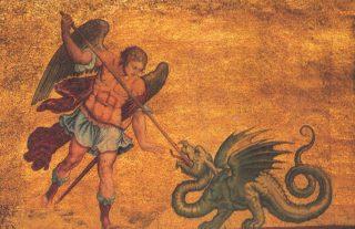 Aartsengel Michaël en de draak - Romeins mozaïek (Publiek Domein - wiki)