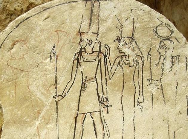 Muurschildering die in de graftombe gevonden werd