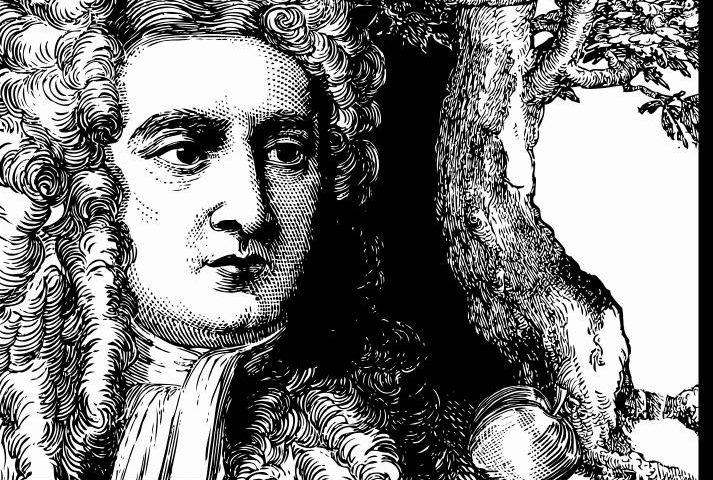 Isaac Newton met appel (CC0 - LadyofHats)