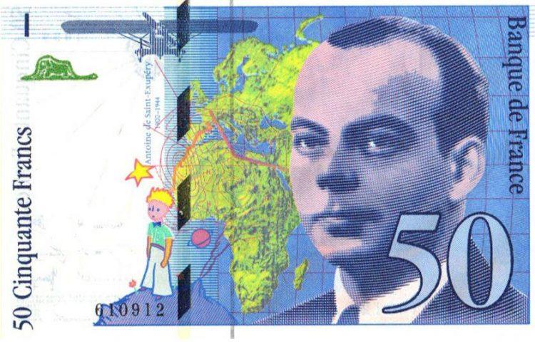 Antoine de Saint-Exupéry op een Frans bankbiljet