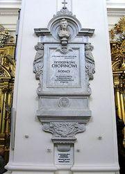 Grafschrift voor Chopin in de Heilige Kruis kerk in Warschau