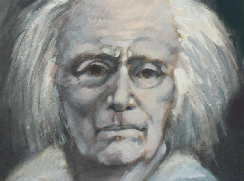 Portret van Paul Delvaux gemaakt door Willy Bosschem