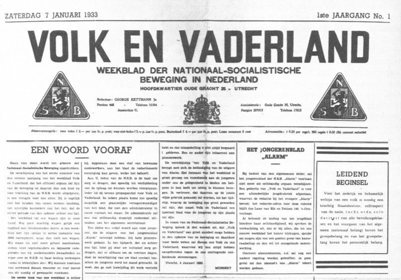 Eerste uitgave van Volk en Vaderland, 7 januari 1933 (Publiek Domein - wiki)