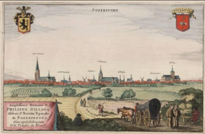 Poperinge in de eerste helft van de 17e eeuw (afbeelding uit Flandria Illustrata - 1641)
