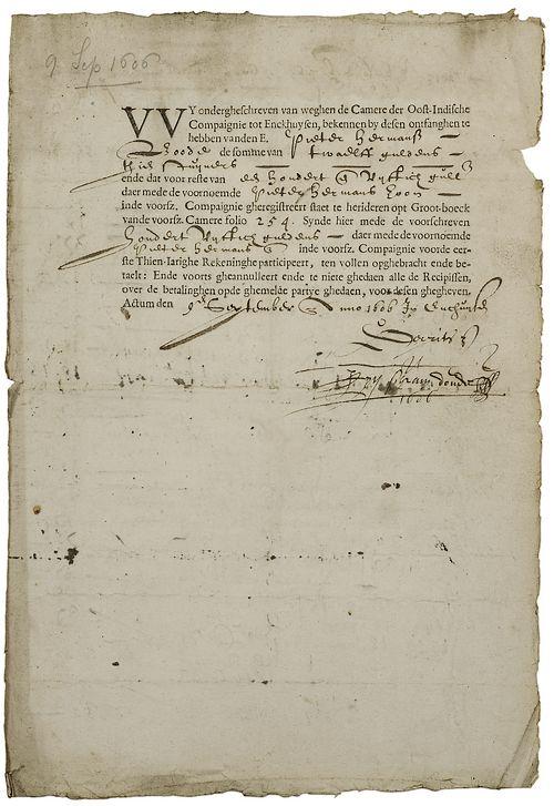 Voorzijde van het ontdekte VOC-aandeel