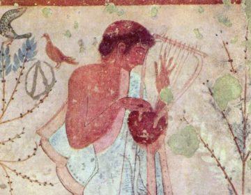 Etruskische lierspeler, wandschildering in het Graf van het Triclinium, Tarquinia (Publiek Domein - wiki)