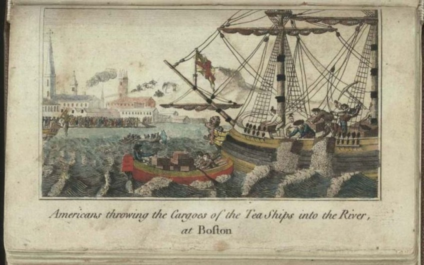 Boston Tea Party - Oude afbeelding waarop te zien is hoe de kolonisten de thee vernietigen