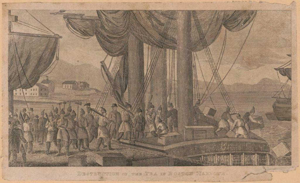 Vernietiging van thee in de haven van Boston - Library of Congress