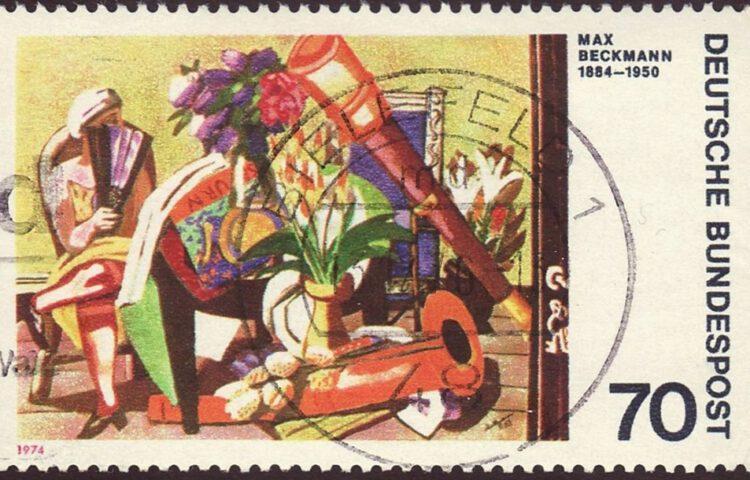 Schilderij van Max Beckmann op een Duitse postzegel