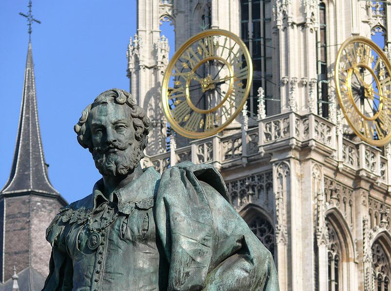 Standbeeld van Rubens op de Groenplaats in Antwerpen - Foto: Ad Meskens