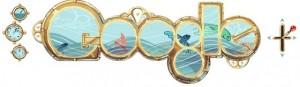 Google Doodle ter gelegenheid van de 173e geboortedag van Jules Verne