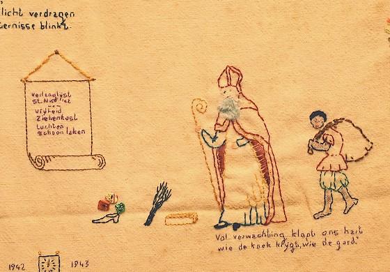 Borduurwerk dat Titia Gorter in het Oranjehotel maakte – Foto: Peter Smith