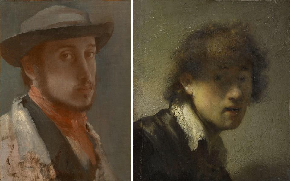 Degas' 'Zelfportret met zachte hoed' (1857-1858) & Rembrandts 'Zelfportret als jonge man' (1629)