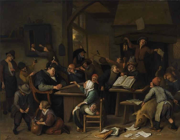 Een schoolklas met een slapende schoolmeester – Jan Steen, 1672
