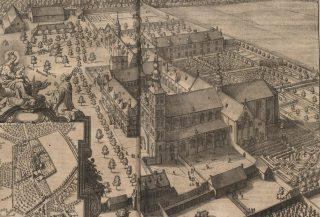 De abdij van Affligem in het midden van de 17e eeuw (afbeelding uit Chorographia Sacra Brabantiae van Antonius Sanderus - 1659) - Publiek Domein - wiki
