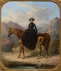 Portret van Alexine Tinne te paard, door Henri Auguste d'Ainecy, Graaf van Montpézat, 1849 (Collectie Haags Historisch Museum)
