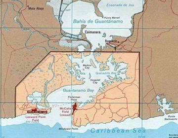 Guantánamo Bay, kaart met de grenzen van de marinebasis