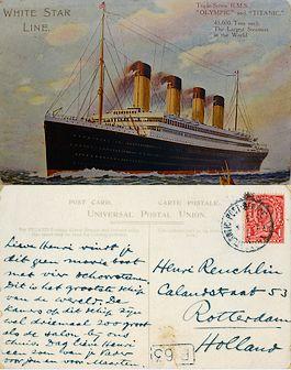 Voor- en achterzijde van een ansichtkaart die passagier George Reuchlin naar zijn zoon stuurde – Bron: GAR, familiearchief Reuchlin