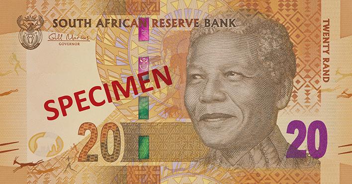 Portret Mandela op bankbiljetten Zuid-Afrika