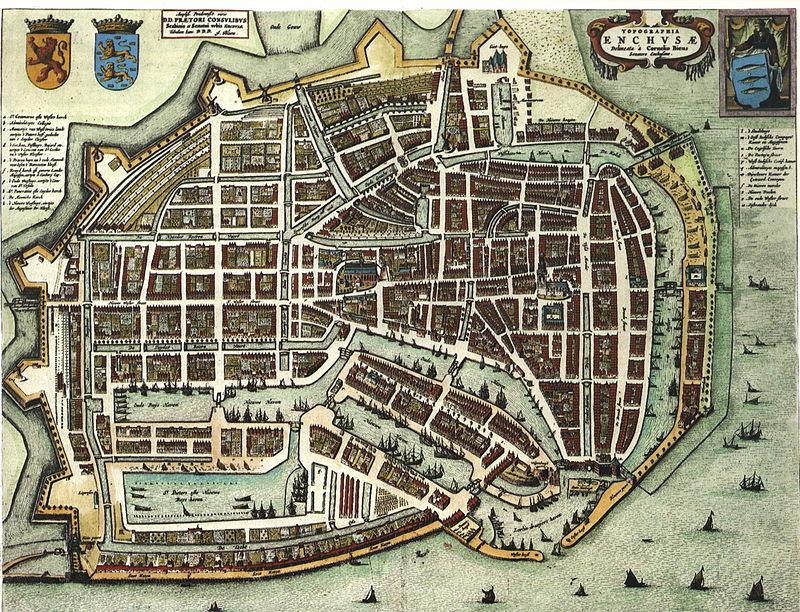 Kaart van Enkhuizen in 1652, uit Blaeu's Toonneel der Steden