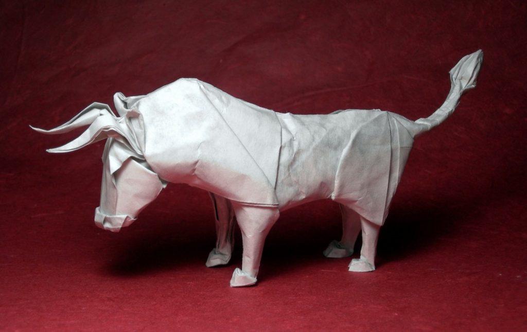 Stier van origami - cc