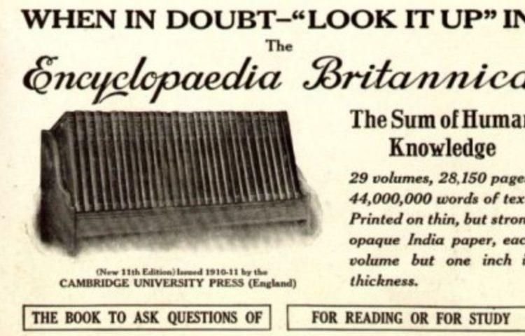 Oude advertentie voor de Encyclopædia Britannica (1913)