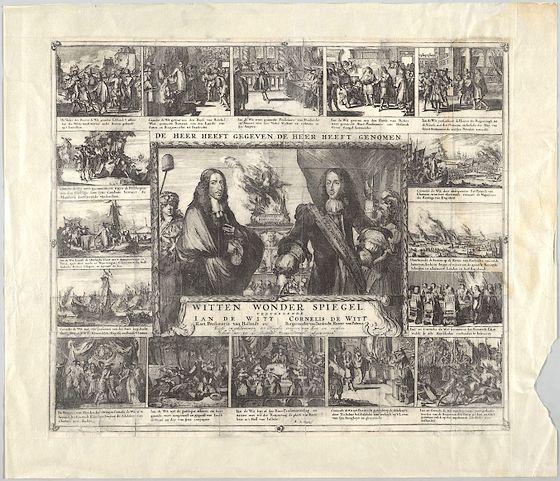 Prent uit 1672 waarop de geschiedenis van de gebroeders De Witt wordt verteld – Afb: KB