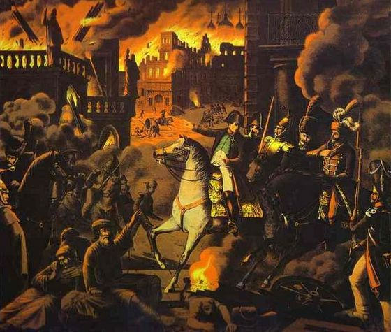 De Fransen nemen Moskou in 1812 in, maar treffen de stad brandend aan