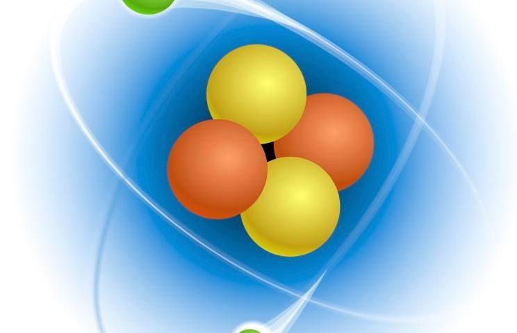 Vereenvoudigde voorstelling van een heliumatoom, met een atoomkern en twee elektronen.