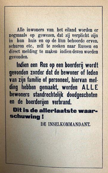 Een pamflet waarschuwt helpers van de Georgiërs voor standrechtelijke executie. (De Russenoorlog)