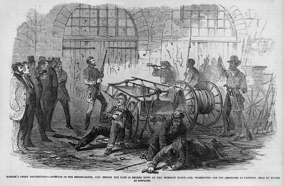 Brown en zijn mannen kort voordat de mariniers de opslagplaats heroveren