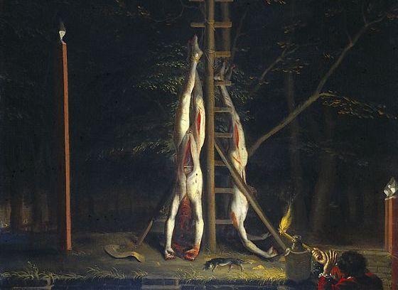 De verminkte lichamen van de gebroeders de Witt op het Groene Zoodje – Jan de Baen, ca. 1672-1702 (Rijksmuseum Amsterdam)