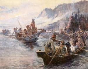 Lewis en Clark op de Columbia River – Charles M. Russell, 1905