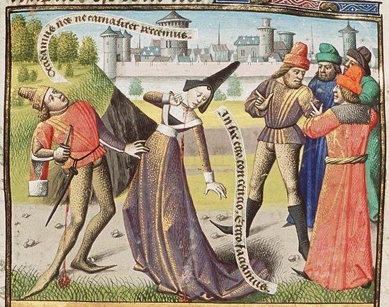Een man en een vrouw plegen zelfmoord om de zonde van overspel niet te kunnen begaan – Afb: Koninklijke Bibliotheek, Den Haag – MMW, 10 A 11, f. 29