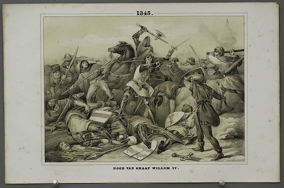 Slag bij Warns - Dood van Graaf Willem IV. Schoolplaat uit 1856 van Bruning, onder de redactie van J.H. Eichman en H. Altmann