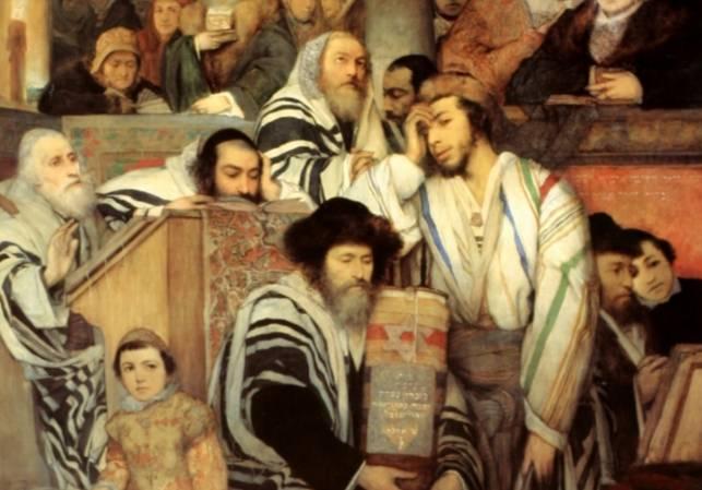 Gebed in de synagoge tijdens Jom Kippoer – Maurycy Gottlieb (1878) - detail