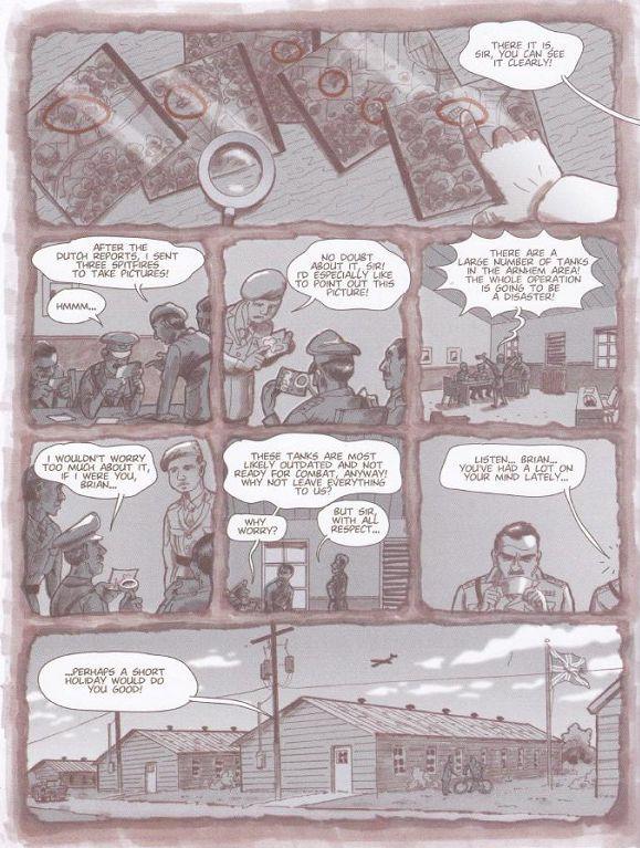 De nachtmerrie van Urquhart in beeld gebracht in deel 2 van het beeldverhaal 'De Slag om Arnhem'