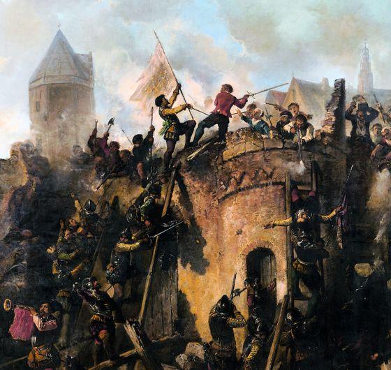 Beleg van Alkmaar, 18 september 1573: Spaanse troepen bestormen de stad – Herman Ten Kate, 1862 (Collectie Stedelijk Museum Alkmaar)