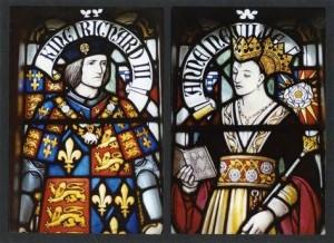 Glas in lood in een kerk in Engeland