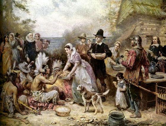 Kolonisten vieren oogstfeest met de indianen