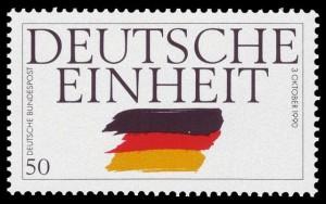 Postzegel die ter gelegenheid van de Duitse eenwording werd uitgebracht