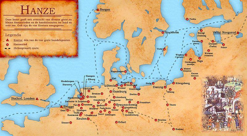 De Hanze - De belangrijkste Hanzesteden en –routes (CC BY-SA 3.0 - Doc Brown - wiki)